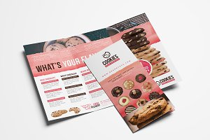 Cookie Shop Trifold Menu Template