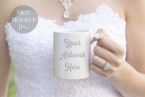 Bride holding mug mockup