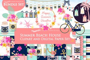 Beach House Clipart+Pattern set