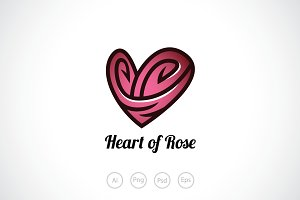 Heart of Rose Logo Template