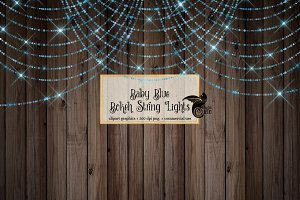 Baby Blue Bokeh String Lights