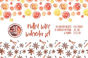 Mulled wine, watercolor set