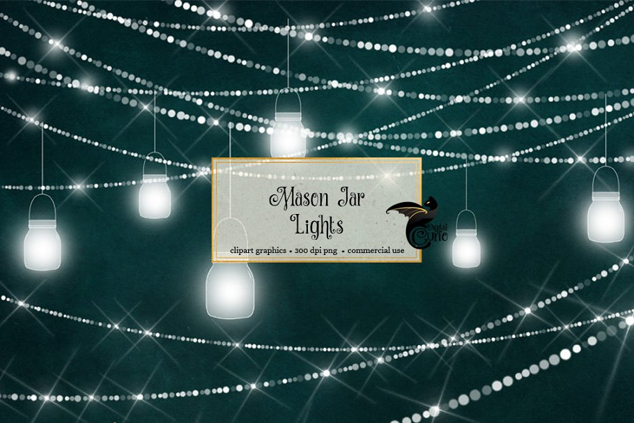 Mason Jar Lights Clipart
