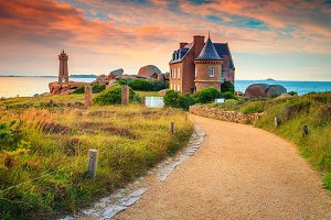 Spectacular sunset and lighthouse
