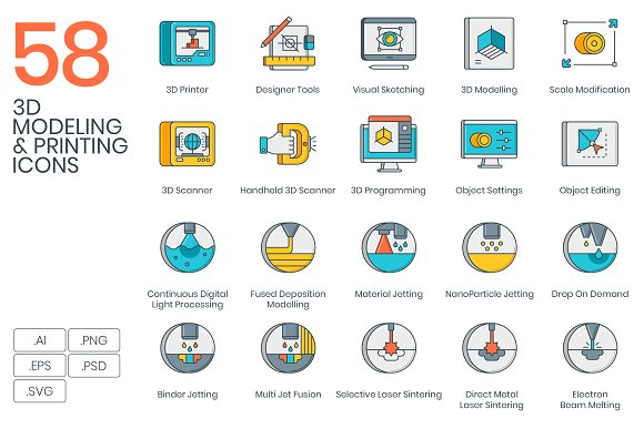 3D Printing & Modeling Icons