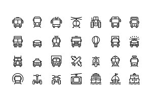 Transport, vehicle, truck icons set