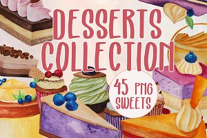 Desserts collection - Watercolor des