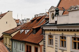 Roofs of old residential buildings of Prague