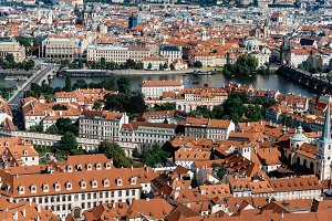 Cityscape of Prague from tower of Cathedral