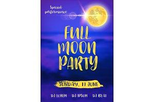 Full Moon Beach Party Flyer. Vector Design EPS 10