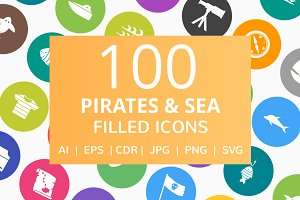 100 Pirate & Sea Filled Round Icons