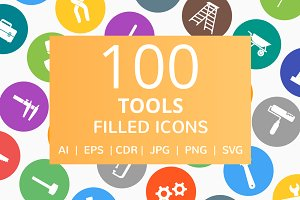 100 Tools Filled Round Icons