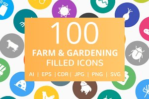 100 Farm & Gardening Filled Icons