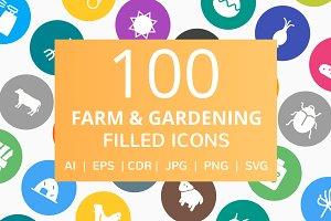 100 Farm & Gardening Filled Icons
