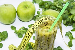 Green smoothie of fruits and vegetab