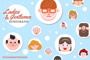 32 Character Faces Flat Designs