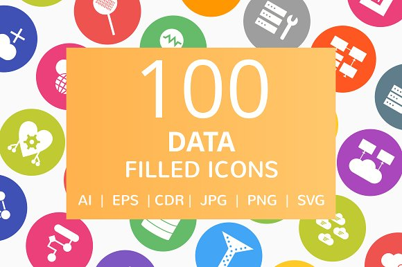 100 Data Filled Round Icons in Graphics
