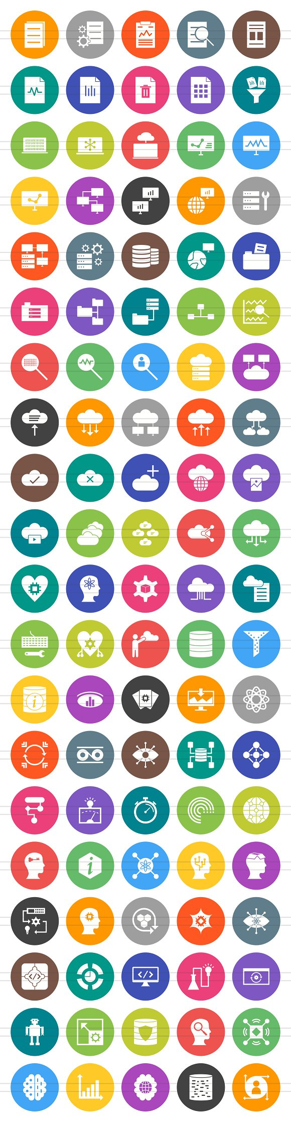 100 Data Filled Round Icons in Graphics - product preview 1