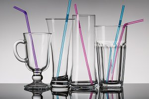 Glasses with cocktail tubes.