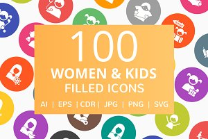 100 Women & Kids Filled Round Icons