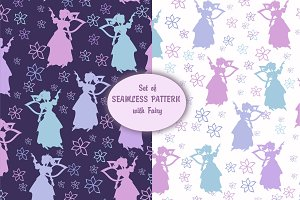 Set of Seamless Pattern with Fairy