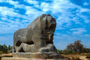 Statue of Babylonian lion in Babylon ruins Iraq