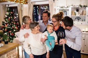 Beautiful big family celebrating Christmat together