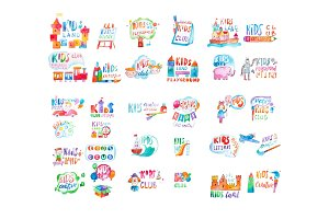 Kids club logo templates or promotional symbols set hand-drawn with watercolor