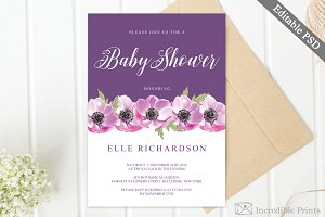 Purple Baby Shower Invitation