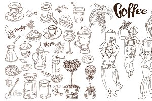 Sketch Coffee Elements Set