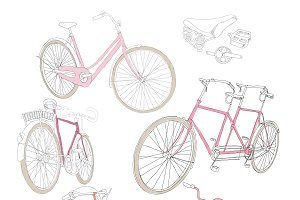 Colorful Hand Drawn Bicycles Set