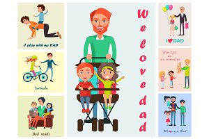 We Love Dad Vector Poster with Children's Wishes