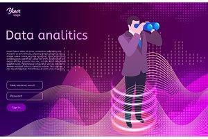 Big data analitics isometric design concept. Man in suit use binocular spyglasses.