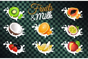 Fruit and Milk Poster with Transparent Background
