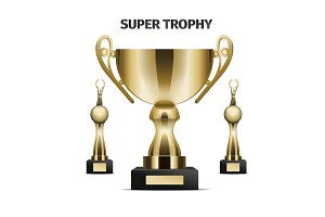 Super Trophy cups realistic vector set