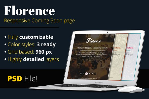 Landing Page Templates: Riccardo Anelli - Florence   Coming Soon - PSD