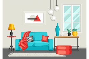 Interior living room. Furniture and home decor.