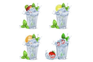 Cold Fruity Drinks with Ice Isolated Illustrations