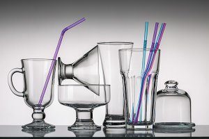 Set of empty glassware.