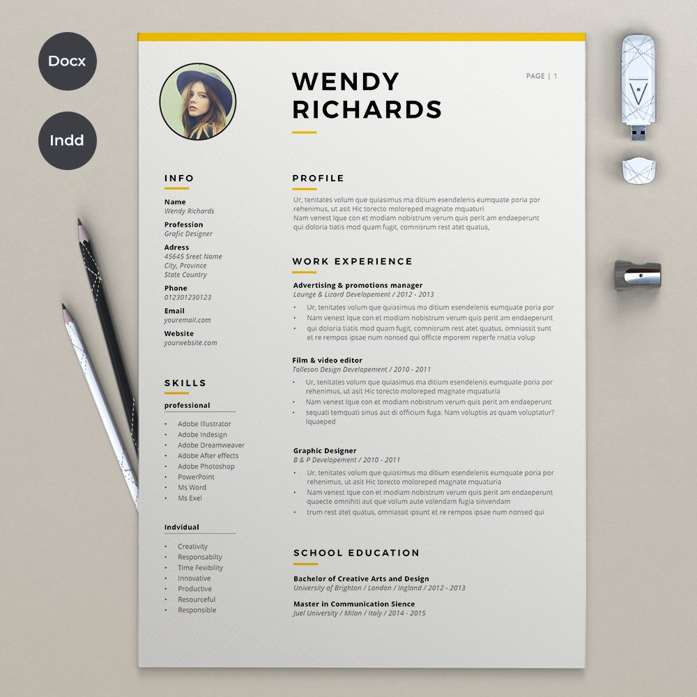 2 Pages resume & Cover ~ Resume Templates ~ Creative Market