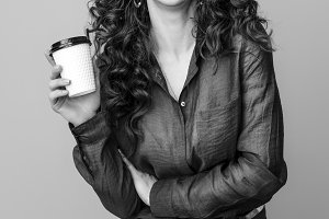happy stylish woman on background with coffee cup