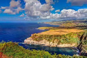 Panorama view to coastline of Sao Miguel island from Santa Iria viewpoint. Azores. Portugal