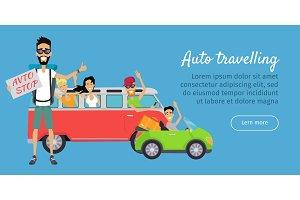 Auto Travelling Conceptual Banner. Autostop