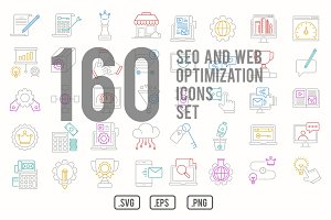 Seo and web optimization icons set
