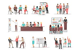 Office Team Building Concepts Illustrations Set