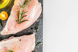 Raw chicken breast filet