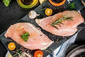 Raw chicken breast filet