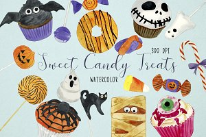 Watercolor Sweet Halloween Clipart