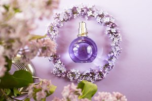 Women's perfume with lilacs