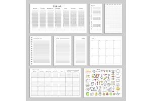 Paper Sheets with Empty Schedule, Notes and Charts